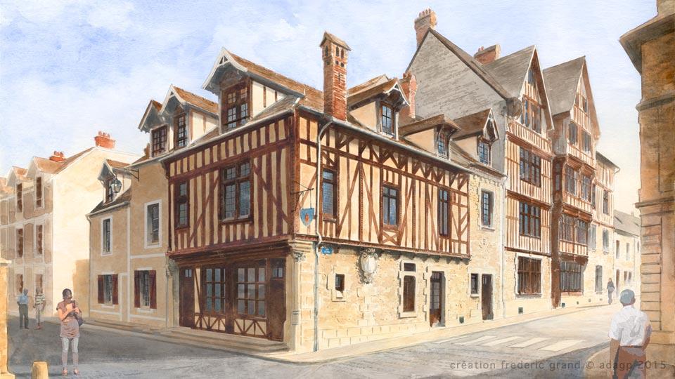 aquarelle en architecture du patrimoine